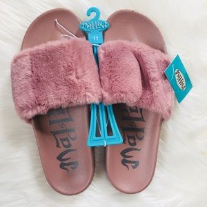 Mad Love Mauve Phoebe Cozy Fuzzy Slide Sandals